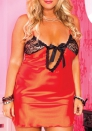 Enticement Enchating Red Lace Satin V Neck Stretch Open Cups Floral SleepWear With G-sting LINGERIE