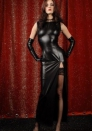 Ultra Sexy Retro Black Leather Round Neck Stretch Cupless Slinky Side Open Long Dress With G-sting LINGERIE
