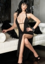 Enticement Fantastic Enchating Black Polyester Deep V Neck Halter Backless Stretch Open Cups Side Open Long Dress With G-sting LINGERIE