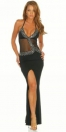 Ultra Sexy Intrigue Black Polyester Spaghetti Strap Backless Stretch Open Cups Slinky Diamond Split Front See Thought Long Dress LINGERIE