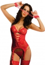 Amour-Valentine's Day Gift Sexy Lingerie Red/Black Lace Cami Bustier Set /w Garters handcuffs