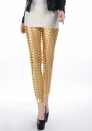 Gold Punk Fish Scale Pierced Holes Fashion Leggings
