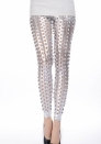 Sliver Punk Fish Scale Pierced Holes Fashion Leggings