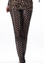 Black Punk Fish Scale Pierced Holes Fashion Leggings