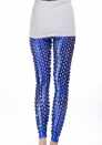 Blue Punk Fish Scale Pierced Holes Fashion Leggings