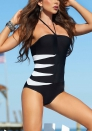 Naughty Black White Polyester Halter Strapless Stretch Zebra Bikini Sets LINGERIE