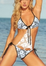 Enchating White Acrylic Lace Halter Stretch Open Cups Floral Bikini Sets LINGERIE