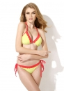 New Sexy Greenish Yellow + Red Lace Triangle Top with Classic Cut Bottom Bikini Swimwear in Low Price
