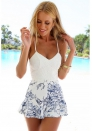 Fashion Enchating White Sleeveless Spaghetti Strap Floral Bikini & Beachwear