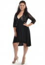 Ultra Sexy Concise Black Long Sleeve Lace Chiffon V Neck Slim Evening & Party Dresses