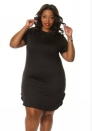 Brief Short Black O-Neck Polyester Spandex Bodycon Dresses