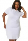 Brief Short White O-Neck Spandex Polyester Polyester Spandex Bodycon Dresses