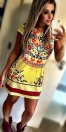 Casual Cute Short Yellow O-Neck Polyester Linen Print Print Dresses