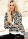 Fashion Long Sleeve Stand Print Leopard Button Coats & Jackets