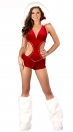 Ultra Sexy Sweet Red Deep V Neck Backless with hat With Leg Sets Christmas Costumes