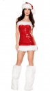 Ultra Sexy Enchating Red Strapless Backless Mini Dress with hat With Leg Sets Christmas Costumes