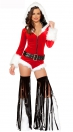 Enticement Enchating Red V Neck Belts hat With Leg Sets Christmas Costumes