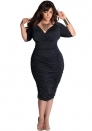 Fashion Enchating Elegant Three Quarter Black V-Neck Spandex Draped Evening & Party Dresses