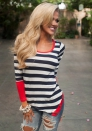 Red O-Neck Full Striped Tops & Tees