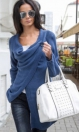 Fashion Casual Blue O-Neck Full Regular Long Solid Tops & Tees