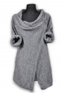 Fashion Casual Gray O-Neck Bow Full Regular Long Solid Tops & Tees