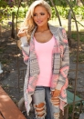 Fashion Long Sleeve Gray Pink Constrast Lapel Cotton Print Coats & Jackets