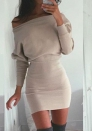 Fashionable Brief Long Sleeve Slash neck Plain Street Dresses