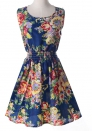 A9 Bohemian Cute Beach O-Neck Sleeveless Ball Gown short skirts Print Dresses