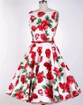 As Show Vintage O-Neck Sleeveless Tank A-Line short skirts Print Dresses