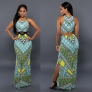 Green Sexy & Club Beach O-Neck Sleeveless Spaghetti Strap Straight Sheath Floor-Length Two Piece Dresses