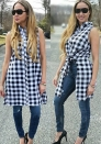 Black Streetwear Casual Fashion Notched Sleeveless Plaid Long Blouses & Shirts