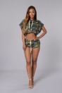 Camouflage Sexy & Club Hooded Short Batwing Sleeve Two Piece Clothes