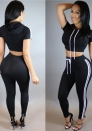 Black Casual Brief Cute Hooded Short Loose Two Piece Clothes
