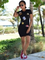 Black Casual Hooded Short Regular Straight short skirts Casual Dresses