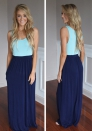 As Show Brief O-Neck Sleeveless Loose Maxi Dresses