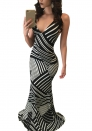 As Show Sexy & Club V-Neck Sleeveless Spaghetti Strap Sheath Trumpet / Mermaid Floor-Length Maxi Dresses