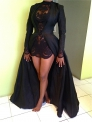 Black Sexy & Club O-Neck Full Regular Ball Gown Floor-Length Two Piece Dresses