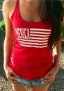 Red Fashion Casual Letter Patchwork Tank Tops Regular Tank Tops & Camis
