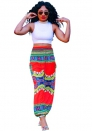 Fashion England Style Bohemian Spliced Patchwork Print Flat Wide Leg Pants Midweight Pants