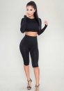 Black Casual Brief Cute O-Neck Full Regular Sheath Pencil pants Two Piece Clothes