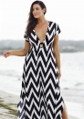 Black White Chevron Print Plunging V Neck Maxi Dress