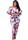 Women's Pink Floral Off Shoulder Jumpsuit Overalls Plus Size