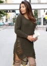 Olive Girls Women Autumn Winter Long Sleeve Knit BodyCon Slim Party Sweater Mini Dress