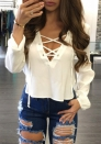 Women's White Plunge Neck Lace Up Long Sleeve Blouse Top