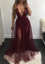 Women V Neck Backless See through Beaded Sequin Gatsby Maxi Evening Dress