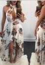 Women Sexy Halter Sleeveless Keyhole Floral Bodycon Cocktail Irregular  Dress