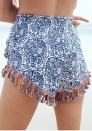 Womens Small Balls Tassel Edge Floral Print Beach Hot Shorts