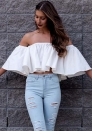 Womens  Off Shoulder Tops Casual flare sleeve Blouse