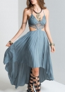 Women V-neck Lace Patchwork Irregular Hem Casual Chiffon Dress