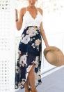 Women Casual Wrap Front Floral Print Maxi Dress with Lace Details